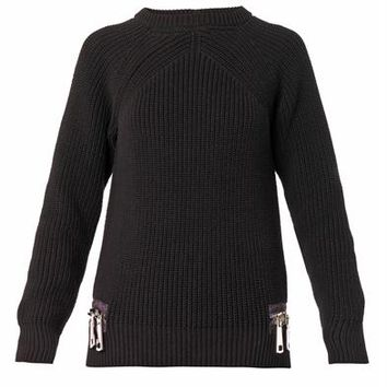 Double-zip cotton-knit sweater