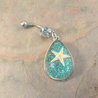 Starfish Belly Button Jewelry Belly Ring With Turquoise Glitter