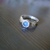 Two moons ring || Aquamarine || Brass || Sterling silver || Bespoke modern ring