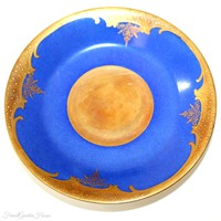 Hand Painted Enameled Raised Gilt Blue Demitasse Cup & Saucer Mythological Scenes I