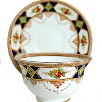 Antique Bridgwood & Son Floral Crown Tea Cup