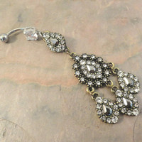 Sparkly Gold Victorian Black and Grey Belly Button Jewelry Belly Ring