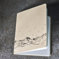 Kraft Notebook Rocky Mountains//Original Mountain Drawing  // Travel Journal // Kraft notebook