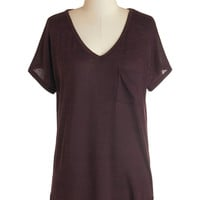 Dreamy Day Off Top in Wine | Mod Retro Vintage Short Sleeve Shirts | ModCloth.com