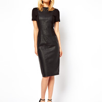 ASOS Pencil Dress With Leather Look Panels at asos.com