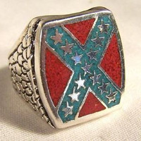 REBEL / CONFEDERATE W SILVER STARS BIKER RING