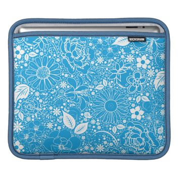 Botanical Beauties Lt. Blue iPad Sleeve Horizontal