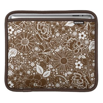 Botanical Beauties Brown iPad Sleeve Horizontal