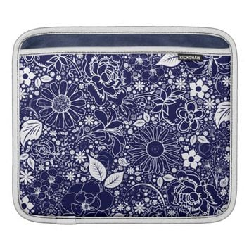Botanical Beauties Blue iPad Sleeve Horizontal