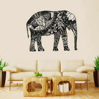 Wall Decal Vinyl Sticker Decals Art Decor Design Mural Ganesh Om Elephant Tattoo Mandala Tribal Buddha Karma India Bedroom Dorm (r1062)
