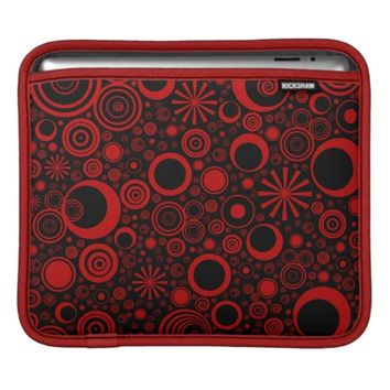 Rounds, Red-Black iPad Sleeve Horizontal