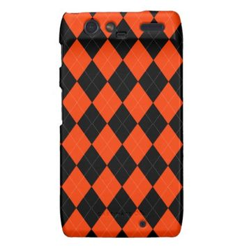 Orange Black Argyle Motorola Droid Razr Case