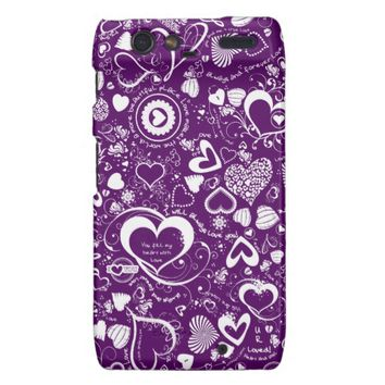 Heart Love Doodles Purple-White Droid Razr Case