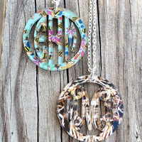 Bordered Monogram Pendant Necklace - Limited Edition 2014