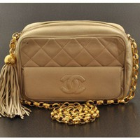 Chanel Vintage Beige Quilted Lambskin Shoulder Bag - Bags - Vintage | Portero Luxury
