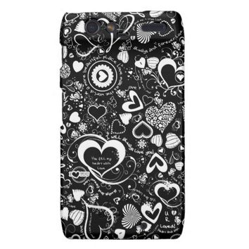 Heart Love Doodles,Black-White Motorola Droid Razr