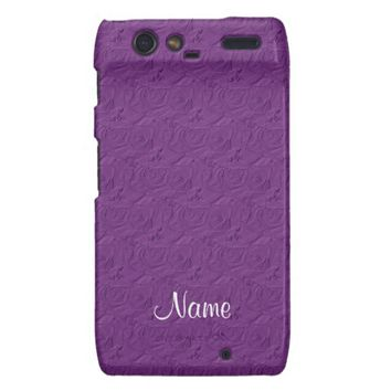 Embossed Roses Lavender Purple Motorola Droid