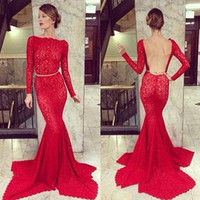 2014 Charming Red Mermaid Backless Elie Saab Dresses for Sale Long Sleeves
