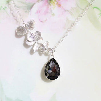 Black Diamond Necklace Crystal Black Diamond Rhinestone and Cascading Blossom Necklace -  April Birthstone Wedding Bridesmaid Necklace, Prom