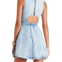 BACK CUT-OUT ACID WASH DENIM SKATER DRESS