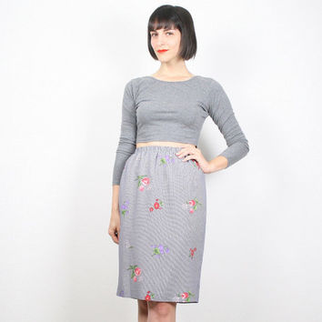 Vintage Black White Skirt Gingham Sirt Floral Print Skirt Midi Skirt Mini Skirt Tulip Skirt Pencil Skirt Gray Skirt Preppy S Small M Medium