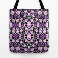 Cute Pink and Purple Flowers Tote Bag by Ellens Kreative Kaos