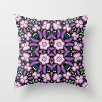 Square Pink and Purple Flower Pattern Throw Pillow by Ellens Kreative Kaos