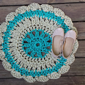 Doily Rug, Crochet Rug, Colorful Rug, Ready to ship