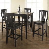 5-Piece Pub Dining Set Table with 4 Cabriole Leg Shield Back Chairs