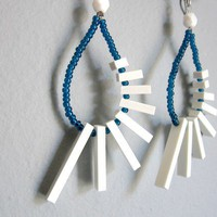 white sticks in a dark blue loop earrings FREE by pergamondo