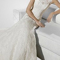 Buy discount Glamorous Net  A-Line Illusion High Neckline  Wedding Dress With Lace Appliques at dressilyme.com