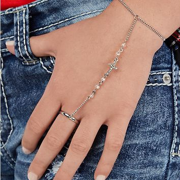 Wonderlust Pave Cross Hand Chain