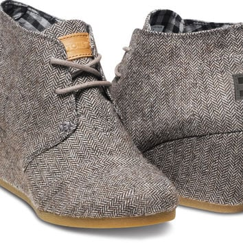 BROWN HERRINGBONE WOMEN'S DESERT WEDGES