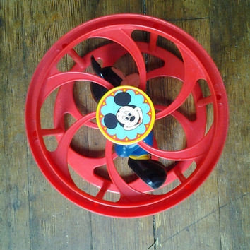 1970's Mickey Mouse Rolling Pre School Toy.  Illco Toys.