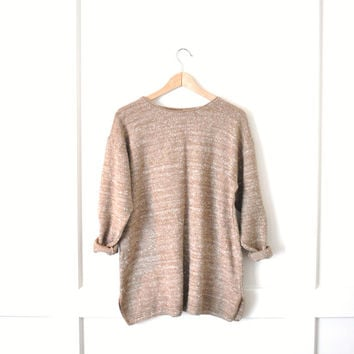 minimalist tan knit jumper / minimalist GRUNGE pull over taupe sweater