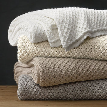 Textural Knit Oversized Bed Throw