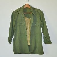 Vintage Womens Army Shirt Jacket Military Shirt 1950s HBT Shirt Size Small - Med