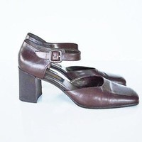 Coach Mary Jane Shoes Size 8 Narrow (AA, N) Coach Brown Leather Heels High Heels