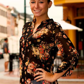 Roll Up Sleeve Floral Blouse