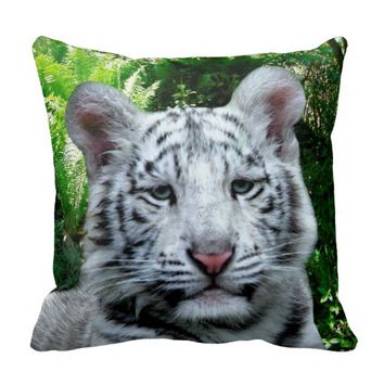 White Tiger Throw Pillow 16x16