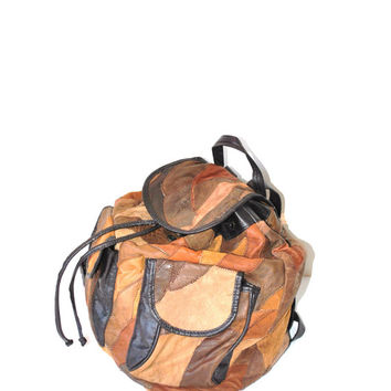 patchwork leather backpack / oversized large brown 80s 90s grunge bag luggage