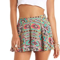 FLOWY BATIK PRINT HIGH-WAISTED SHORTS