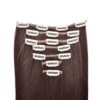"15"" 18"" 20"" 22"" Remy (Remi) Human Hair Straight Clip in Extensions All Colors for Your Choose 7 Pieces(pcs) [Set Weight:70-80 Grams] (18"", #2 dark brown)"