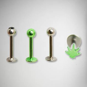 16 Gauge Green Leaf Labret Set