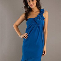 One Shoulder with Ruffles Knee Length Homcoming Dress PD1898