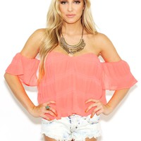 West Coast Wardrobe Hold on Cold Shoulder Top in Neon