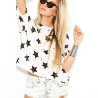 West Coast Wardrobe Starry Summer Nights Short Sleeve Top in Black/White