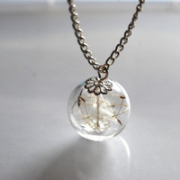 Dandelion Necklace Make A Wish 09 Glass by NaturalPrettyThings