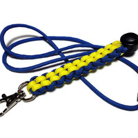 Paracord Lanyard Id Badge Holder Royal Blue and Yellow Breakaway Clasp Handmade USA Crown Sinnet Weave Men or Women