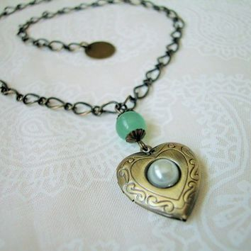 Antique Brass Heart Locket Necklace Green Jade Bead Connector Handmade